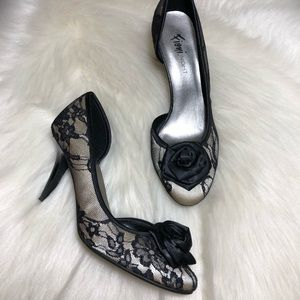 Fioni Night Black Floral Lace Dress Heels Pumps